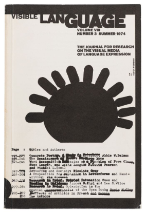 Wolfgang Weingart, Visible Language, Buchumschlag, 1974, Offset